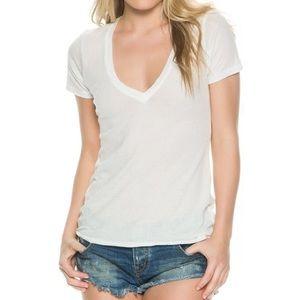 We the Free White V-Neck Cotton Blend T Shirt